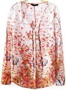 Red V Neck Long Sleeve Plum Flower Print Blouse