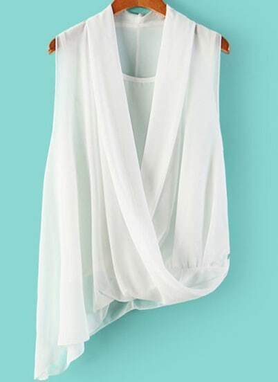 White V Neck Sleeveless Asymmetrical Chiffon Blouse