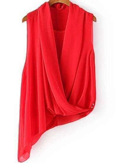 Red V Neck Sleeveless Asymmetrical Chiffon Blouse