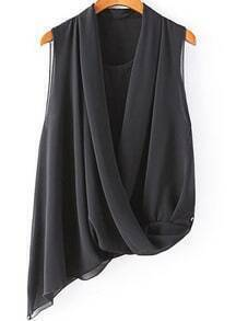 Black V Neck Sleeveless Asymmetrical Chiffon Blouse