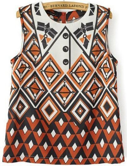 Yellow Sleeveless Vintage Geometric Print Vest