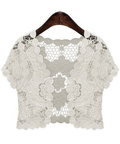 White Short Sleeve Hollow Floral Crochet Top