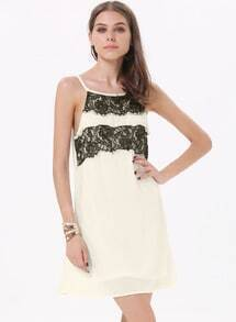 White Spaghetti Strap Lace Hollow Loose Dress