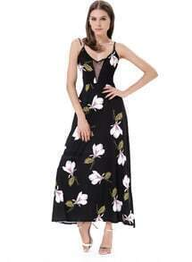 Black Spaghetti Strap Contrast Gauze Floral Split Dress