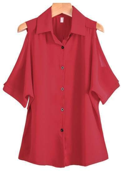 Red Lapel Off the Shoulder Chiffon Blouse