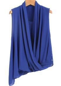 Blue Sleeveless Pleated Asymmetrical Chiffon Blouse