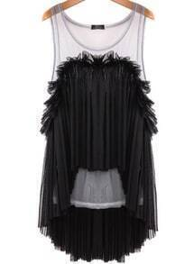 Black Contrast Sheer Mesh Yoke Pleated Blouse