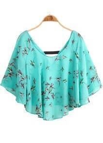 Green Batwing Sleeve Birds Print Chiffon Blouse