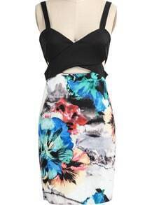 Black Spaghetti Strap Hollow Floral Dress