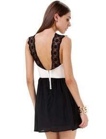 Black Sleeveless Sweatheart Neckline Contrast Lace Shoulder Backless Dress