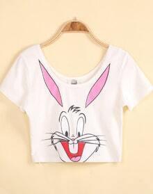 White Short Sleeve Bugs Bunny Print Crop T-Shirt