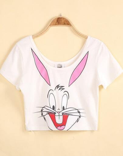 White Short Sleeve Bugs Bunny Print Crop T-Shirt