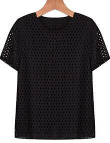 Black Short Sleeve Hollow Lace Chiffon T-Shirt