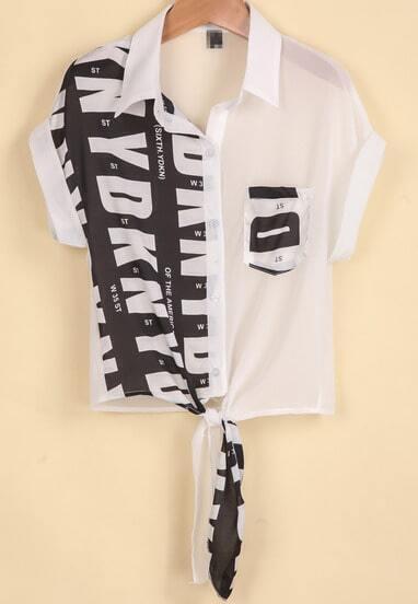 White Lapel Short Sleeve Letters Print Blouse