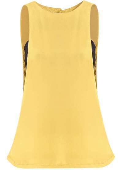 Yellow Sleeveless Chiffon Vest With Corsets