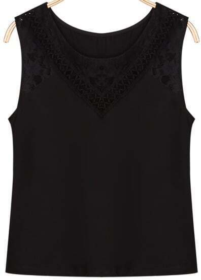 Black Round Neck Sleeveless Lace Vest