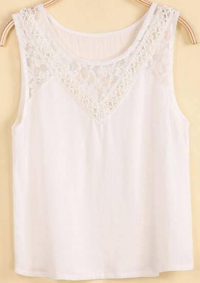 White Round Neck Sleeveless Lace Vest