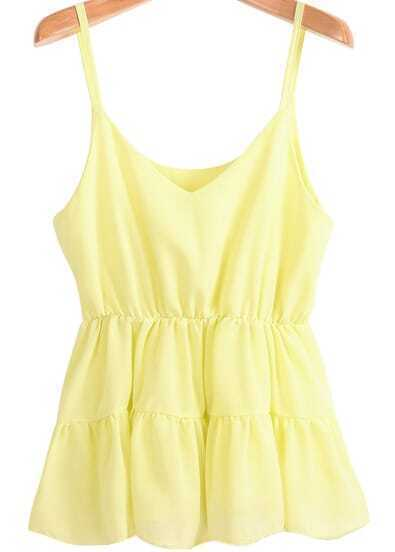 Yellow Spaghetti Strap Pleated Chiffon Vest