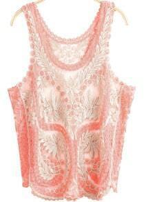 Pink Scoop Neck Sleeveless Embroidered Vest
