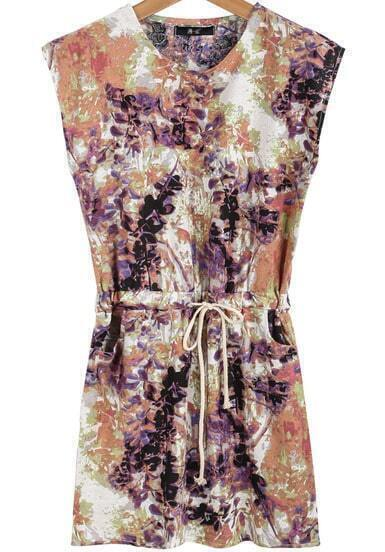 Purple Sleeveless Ink Floral Drawstring Dress
