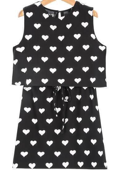 Black Sleeveless Hearts Print Drawstring Dress