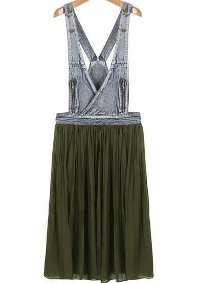 Green Contrast Denim Strap Pleated Dress
