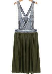 Green Contrast Denim Strap Pleated Dress
