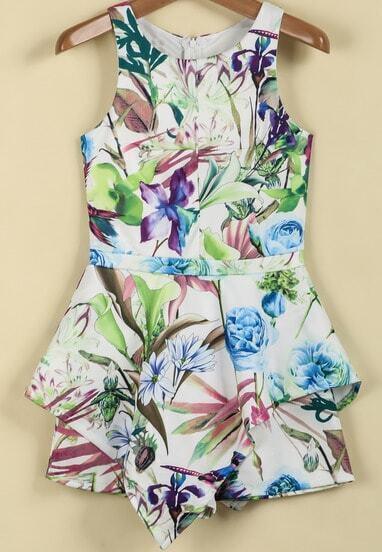 Green Round Neck Sleeveless Floral Slim Jumpsuit