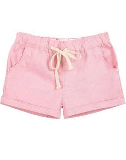 Pink Drawstring Waist Pockets Straight Shorts