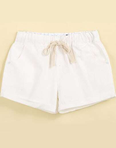 White Drawstring Waist Pockets Straight Shorts