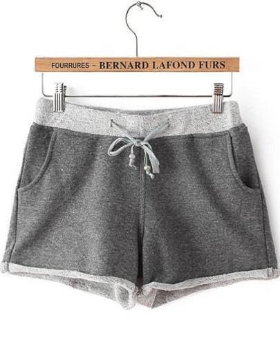 Grey Drawstring Waist Pockets Straight Shorts
