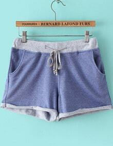 Blue Drawstring Waist Pockets Straight Shorts