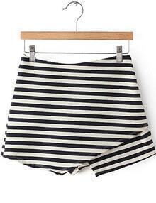 Navy White Striped Asymmetrical Skirt Shorts