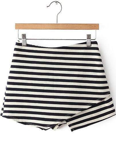 Navy White Striped Asymmetrical Skirt Shorts