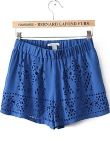 Blue Elastic Waist Hollow Chiffon Shorts