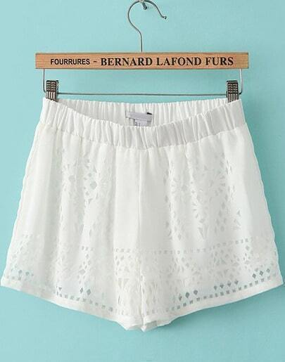White Elastic Waist Hollow Chiffon Shorts