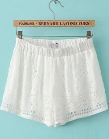 White Elastic Waist Hollow Chiffon Shorts