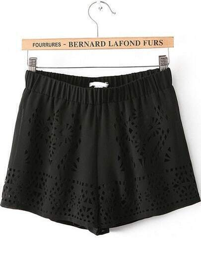 Black Elastic Waist Hollow Chiffon Shorts