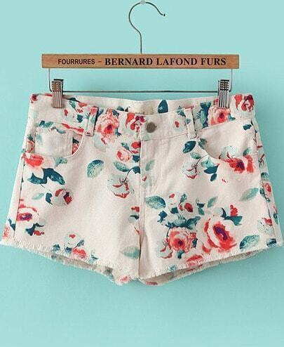White Pockets Floral Straight Shorts