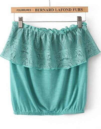 Green Strapless Lace Ruffle Vest
