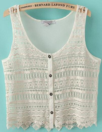 Beige Sleeveless Hollow Buttons Chiffon Vest