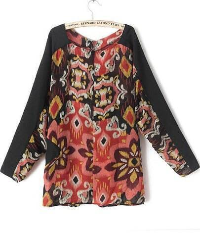 Red Black Long Sleeve Floral Chiffon Blouse