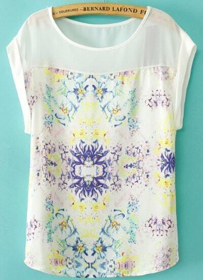 White Round Neck Short Sleeve Floral Blouse