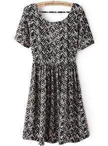 Black Short Sleeve Zigzag Backless Dress