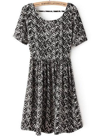 Black Short Sleeve Zigzag Backless Dress