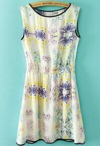 Yellow Sleeveless Contrast Trims Floral Dress