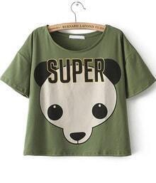 Green Short Sleeve SUPER Panda Print T-Shirt