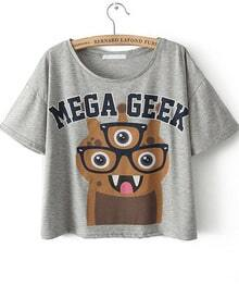 Grey Short Sleeve MEGA GEEK Monster Print T-Shirt