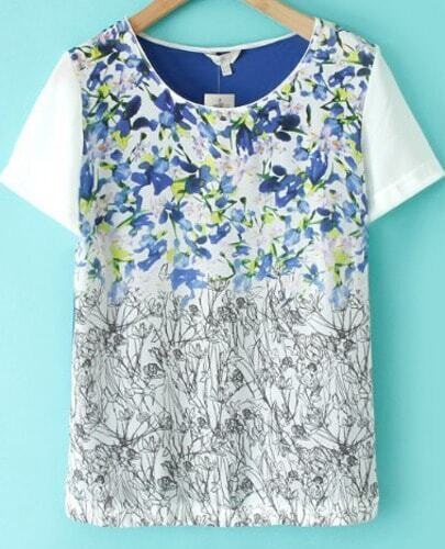 Blue Contrast Short Sleeve Floral T-Shirt