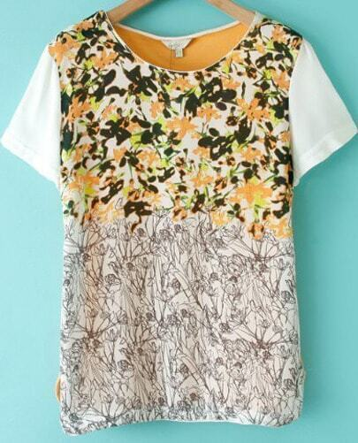Yellow Contrast Short Sleeve Floral T-Shirt